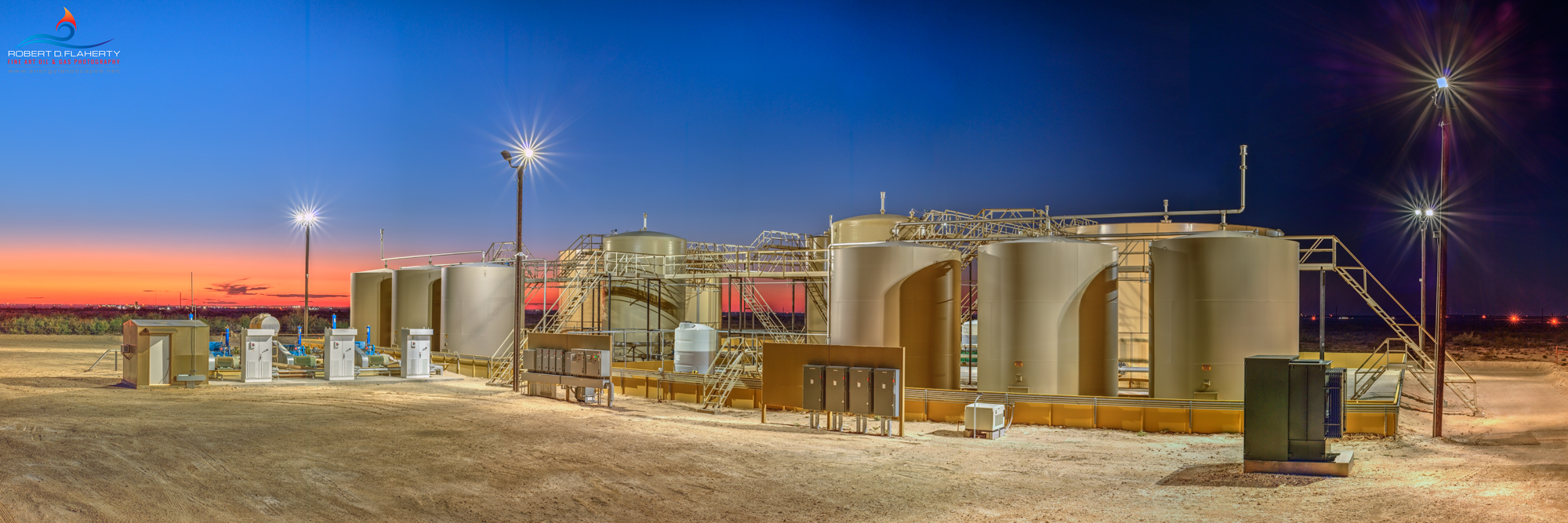 midstream, SWD, saltwater, saltwater disposal, high resolution, panorama, September, sunset, mural, Pecos Texas, Delaware Basin, Permian Basin, networked SWD, photo